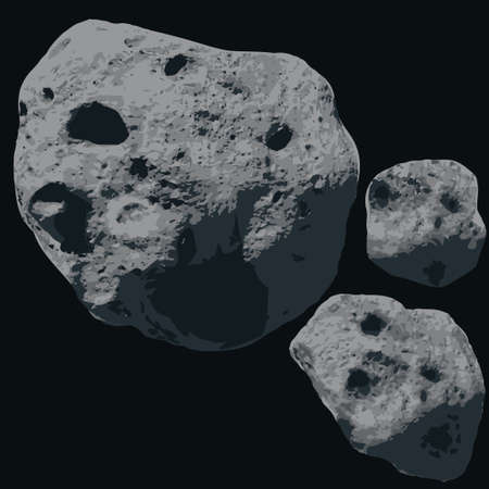 cosmology: Asteroids on a black space. Falling Meteorite Illustration