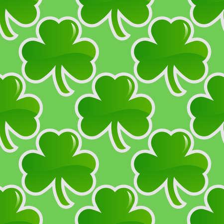 shamrock seamless: Shamrock seamless background, green clover spring pattern. Vector