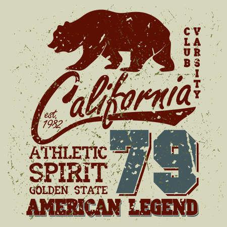 dept: California Sport Typography, University Athletic Dept. T-shirt graphics, Vintage Print for sportswear apparel. vector Illustration