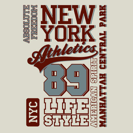 dept: New York Sport Typography, University Athletic Dept. T-shirt graphics, Vintage Print for sportswear apparel. vector Illustration