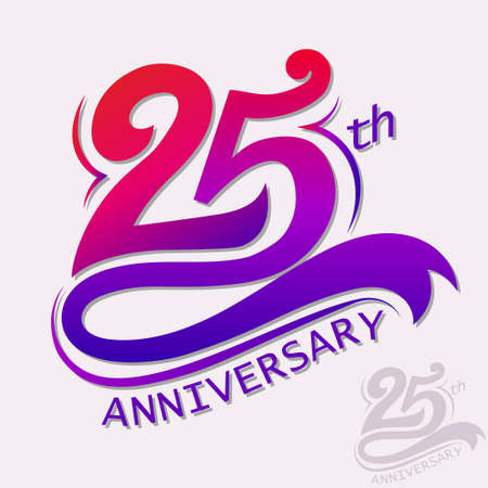 25th Years Anniversary Design, Template celebration sign. Vectores