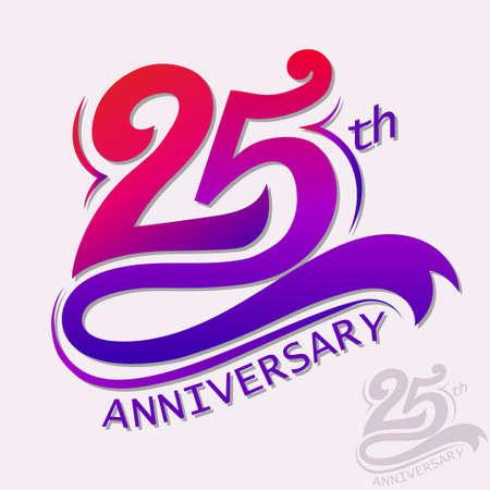 aniversario: 25 a�os de aniversario de dise�o, plantilla celebraci�n de signos.