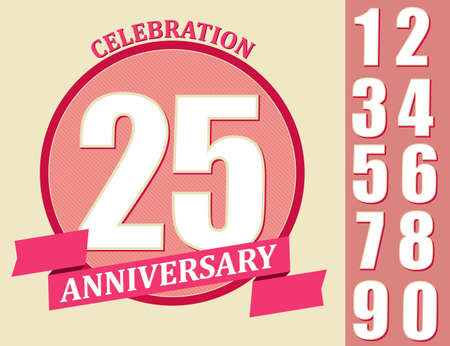 25th: 25th Years Anniversary Design, Template celebration sign set.