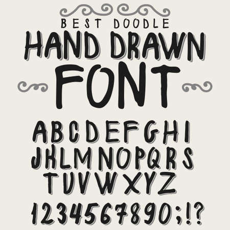 Vintage Alphabet Hand Drawn Font Old Style Typeface On Dark Background Typography For