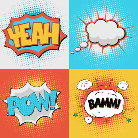 ooops: Comic Book Bubble Text set on a dots pattern background in Pop-Art  Retro Style Illustration