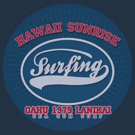 oahu: Surfing t-shirt graphic design. Hawaii surfing. Surfers wear typography emblem. Creative design. Vector