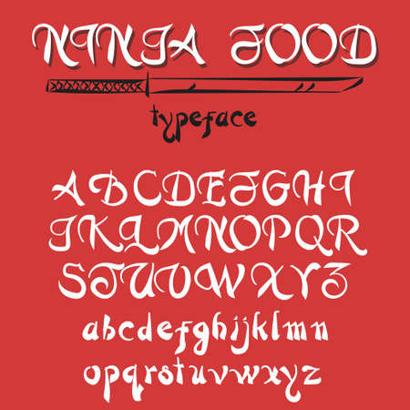 western script: Vintage alphabet, hand drawn vector font.  Old style typeface on red background, vector typography for labels, headlines, posters