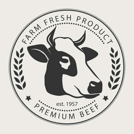 Butcher shop sign with silhouette of cow, premium beef label,  typographic  badge and design element