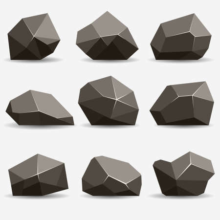 Rock stone set. Stones and rocks in isometric 3d flat style. Set of different boulders Vectores