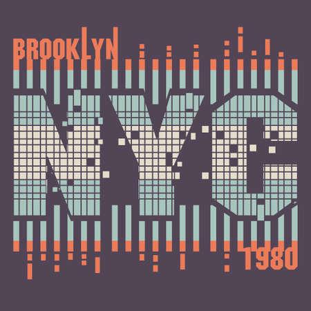 New York City Typography Graphics retro style, Brooklyn T-shirt design. vector