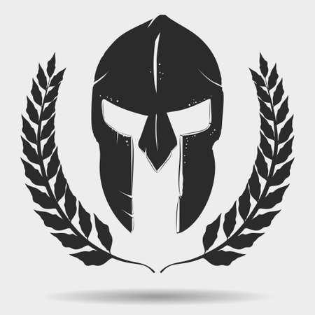 Spartan Warrior silhouette with laurel wreath,  Knight helmet, gladiator icon.