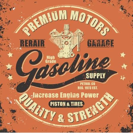 Vintage gasoline retro label for t-shirt. Typography Graphics retro style tee design