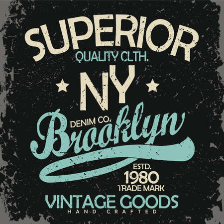 Denim typography, t-shirt graphics, vintage wear tee print design