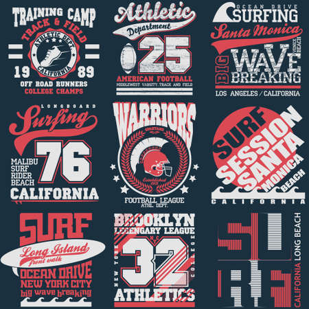 athletic wear: Sport Typography Graphics emblem set, T-shirt Printing Design. Athletic original wear, Vintage Print for sportswear apparel