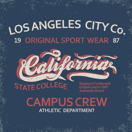 Denim typography, California t-shirt graphics, vintage sport wear tee print design 일러스트