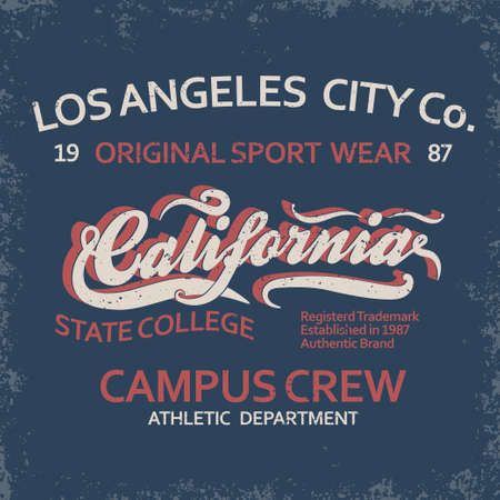 Denim typography, California t-shirt graphics, vintage sport wear tee print design Vettoriali