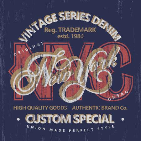 Denim typografie, t-shirt graphics, vintage slijtage tee print design Vector Illustratie