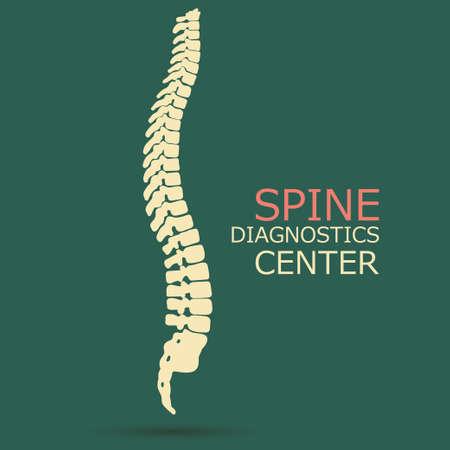 scoliosis: Spine diagnostics center, medicine, clinic symbol design, backbone silhouette emblem