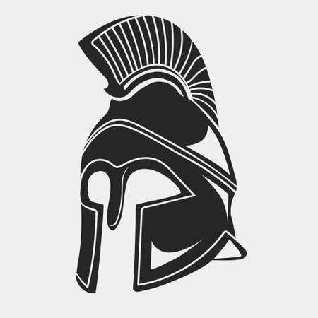 Spartan Helmet silhouette, Greek warrior - Gladiator,  legionnaire heroic soldier. Illustration