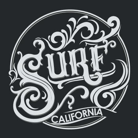 hand wear: Surfing t-shirt graphic design. Hand lettering California surfers wear typography emblem. Creative design. Vector