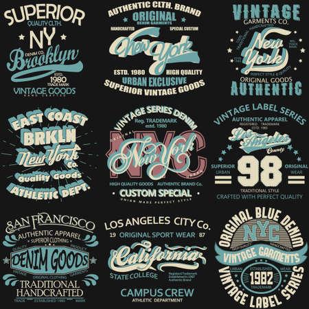 Denim typography, t-shirt graphics, vintage sport wear tee print design Vectores