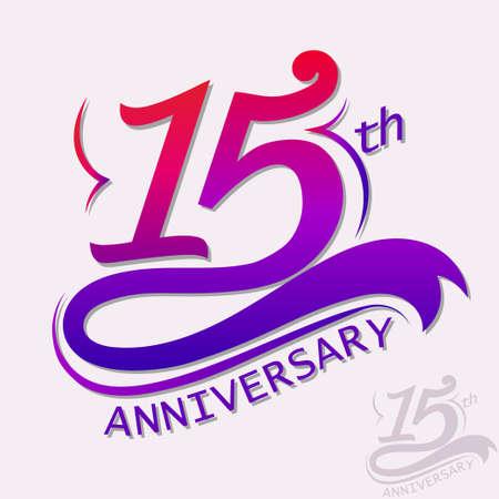 15th Years Anniversary Design, Template celebration sign 일러스트