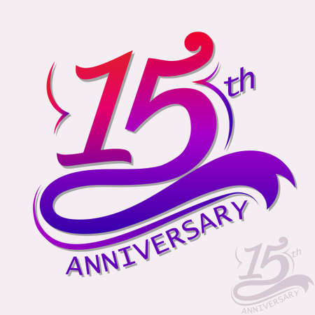 15th Years Anniversary Design, Template celebration sign Illustration