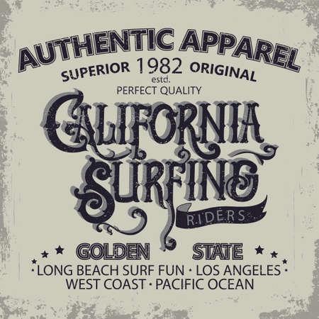hand wear: Surfing t-shirt graphic design. Hand lettering California surfers wear typography emblem. Creative design.