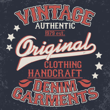 Denim typography, t-shirt stamp graphics, vintage wear tee print design Ilustrace
