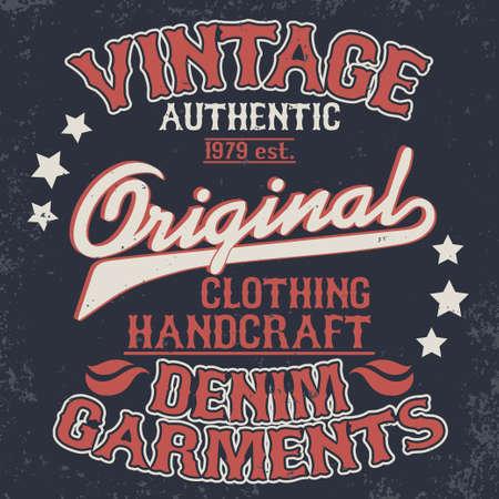 Denim typography, t-shirt stamp graphics, vintage wear tee print design Vettoriali