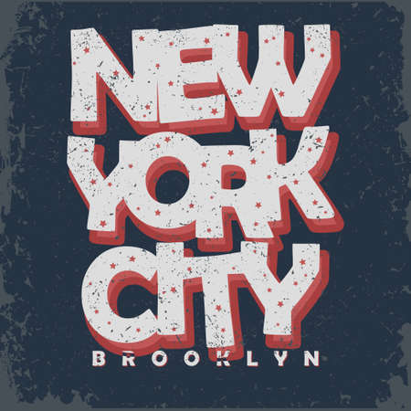 denim: New York t-shirt graphics, Vintage Apparel typography, Artwork stamp print. Retro wear tee print design