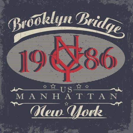 retro wear: New York t-shirt graphics, Vintage Denim Apparel typography, Artwork stamp print. Retro wear tee print design Illustration