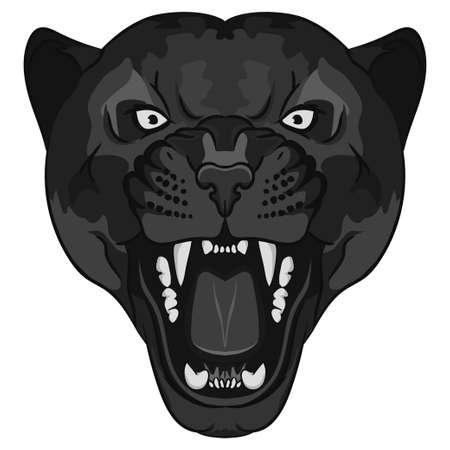 Ritratto Panther. Angry testa di gatto grande selvaggio. viso carino di Black Cat. animale aggressivo con i denti scoperti in stile fumetto, gatto tatuaggio, t-shirt design di stampa Archivio Fotografico - 54325808