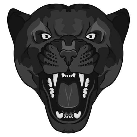 Panther Portrait. Angry wild big cat head. Cute face of Black Cat. Aggressive animal with bared teeth in cartoon style, cat tattoo, t-shirt print design