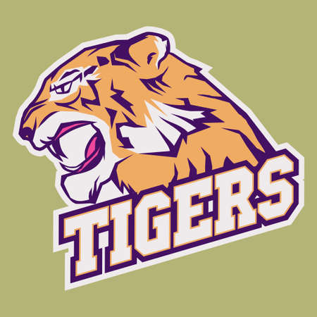 bared teeth: Angry Tiger Sport team emblem, wild big cat head. Cute face of Black Cat. Aggressive cat with bared teeth in cartoon style, t-shirt print design