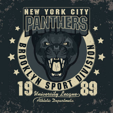 bared teeth: Panther Sport t-shirt graphics, Vintage Athletic Apparel typography, Artwork stamp print design, head of wild big cat . Aggressive wild-cat with bared teeth in cartoon style Illustration