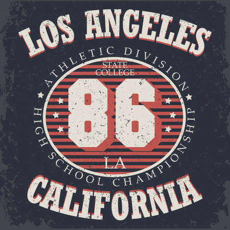 sport wear: Athletics typography, California t-shirt graphics, vintage sport wear tee print design Illustration