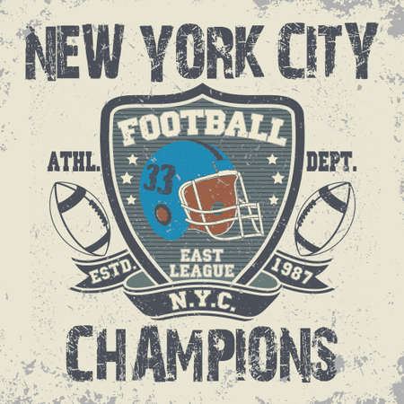 sport wear: New York football typography, t-shirt stamp graphics, vintage sport wear tee print design
