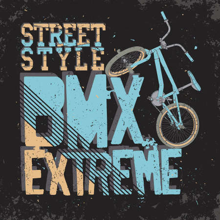 BMX Riding Typography Graphics. Extreme bike street style. T-shirt Design, Print for sportswear apparel.