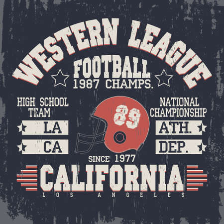 sport wear: California football typography, t-shirt stamp graphics, vintage sport wear tee print design