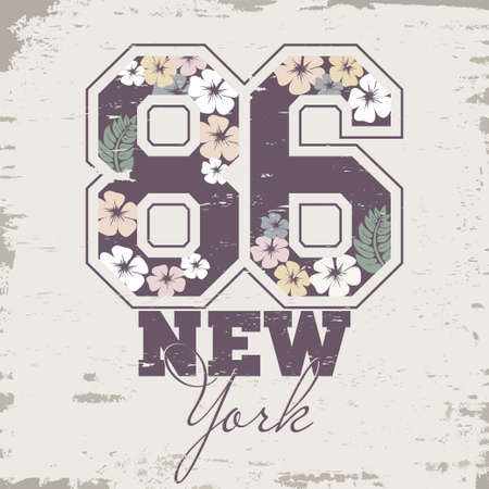stamp design: Sport T-shirt Design stamp with floral numbers. Fashion Typography Graphics.