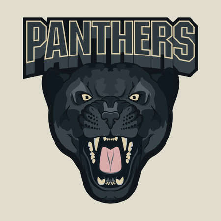 bared teeth: Angry Panther Sport team emblem, wild big cat head. Cute face of Black Cat. Aggressive cat with bared teeth in cartoon style, t-shirt print design