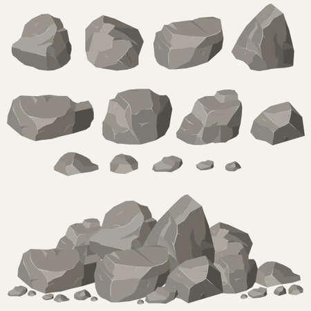 roca de piedra Conjunto de dibujos animados. Piedras y rocas en estilo plano en 3D isométrico. Conjunto de diferentes cantos rodados