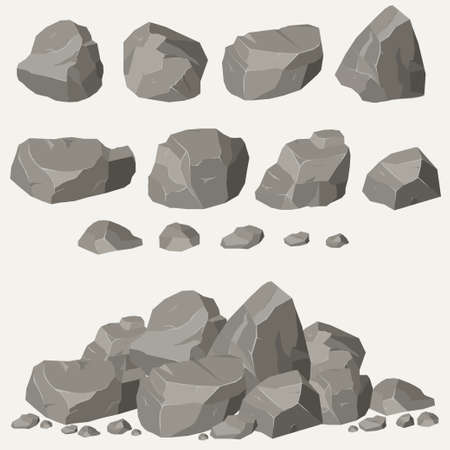 Rock stone set cartoon. Stones and rocks in isometric 3d flat style. Set of different boulders Çizim