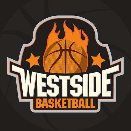 fire team: Basketball Team, Championship Emblem, Basket Ball on Fire Sport T-Shirt Graphics