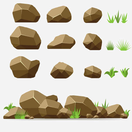 Rock stone set with grass. Brown Stones and rocks in isometric 3d flat style. Set of different boulders