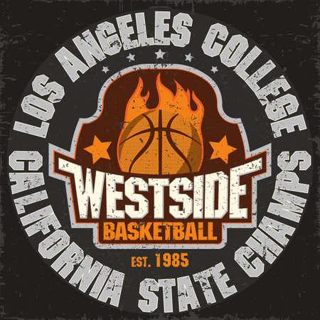 fire team: California Basketball Team t-shirt graphics, College Championship grunge Emblem, Basket Ball on Fire Sport Athletics typography stamp, vintage sport-wear tee print design