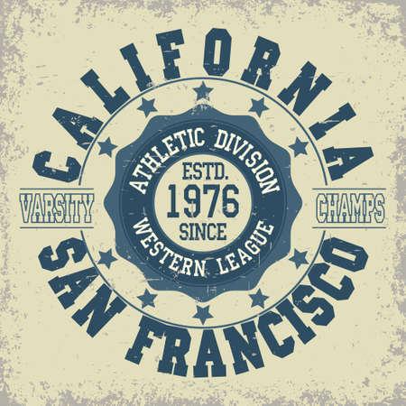 サンフランシスコ陸上タイポグラフィ スタンプ、カリフォルニア t シャツ スタンプ グラフィックス、ビンテージ スポーツ摩耗 t シャツ印刷のベク