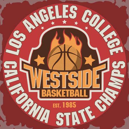 basketball ball in fire: California Basketball Team t-shirt graphics, College Championship grunge Emblem, Basket Ball on Fire Sport Athletics typography stamp, vintage sport-wear tee print design