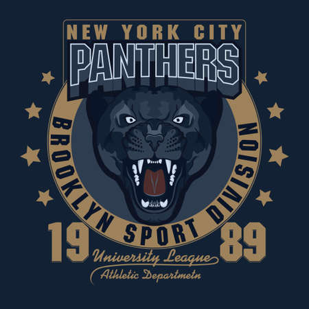 bared teeth: Panther Sport t-shirt graphics, Vintage Apparel typography, Artwork stamp print design, wild big cat head. Aggressive wild-cat with bared teeth in cartoon style Illustration